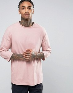 Oversize-футболка с рукавами 3/4 ASOS - Розовый