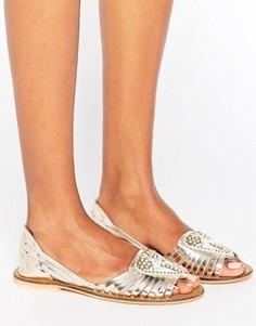 Кожаные летние туфли с декоративной отделкой ASOS JIA - Золотой