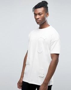 Длинная oversize-футболка с белыми нашивками с вышивкой ASOS - Белый