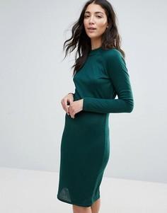 Платье-футляр в рубчик с высокой горловиной Unique 21 - Зеленый
