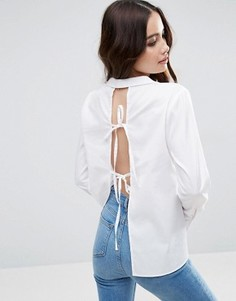 Рубашка с открытой спиной и завязками сзади ASOS - Белый