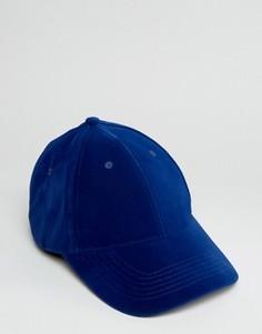 Синяя бархатная бейсболка ASOS - Синий