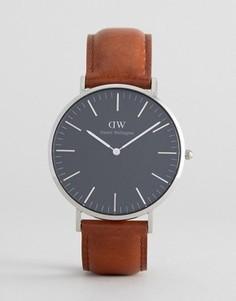 Часы с черным кожаным ремешком и серебристым циферблатом Daniel Wellington St Mawes - 40 мм - Коричневый
