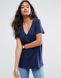 Свободная футболка с V-образным вырезом ASOS - Темно-синий
