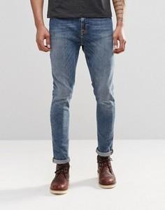 Синие супероблегающие джинсы скинни Nudie Pipe Led Granum - Синий