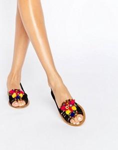 Замшевые летние туфли с отделкой помпонами ASOS JEANA - Черный