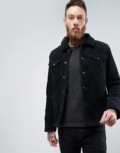 Вельветовая черная куртка на искусственной меховой подкладке ASOS - Черный