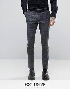 Супероблегающие строгие брюки в клетку Heart & Dagger - Серый