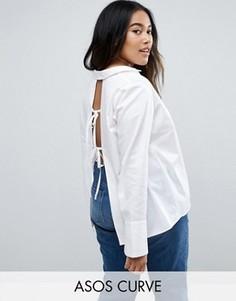 Рубашка с открытой спиной и завязками ASOS CURVE - Белый