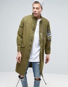 Куртка в стиле милитари с нашивками Heros Heroine - Зеленый