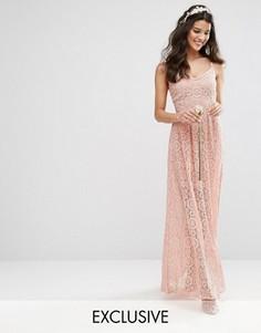 Кружевное платье макси на бретельках Bodyfrock - Коричневый