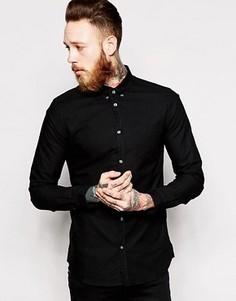 Оксфордская рубашка слим Dr Denim Pete - Черный