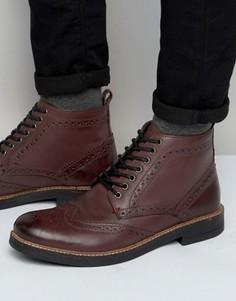 Бордовые кожаные ботинки-броги Frank Wright - Красный