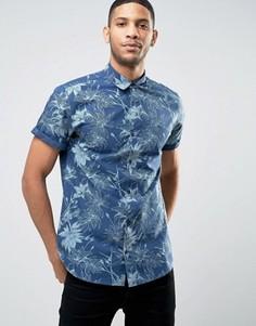 Рубашка с короткими рукавами и цветочным принтом Jack & Jones Originals - Синий
