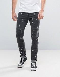 Зауженные байкерские джинсы с принтом Sixth June - Черный