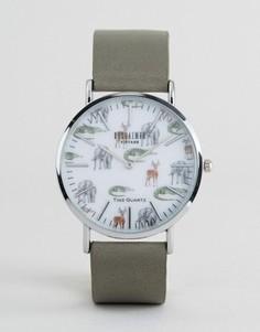 Часы с серым кожаным ремешком и принтом сафари Reclaimed Vintage - Серый