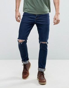 Темно-синие рваные джинсы скинни из денима плотностью 12,5 унц ASOS - Синий