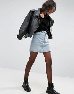 Выбеленная джинсовая мини-юбка с завышенной талией ASOS - Синий