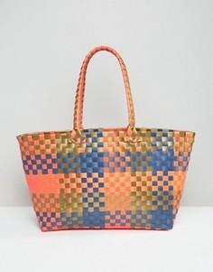 Разноцветная плетеная сумка-шоппер ASOS BEACH - Мульти