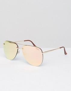 Солнцезащитные очки-авиаторы без оправы Quay Australia эксклюзивно для ASOS - Розовый