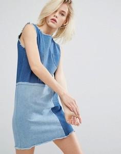 Джинсовое цельнокройное платье в стиле пэтчворк I Love Friday - Синий