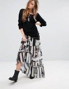 Многоярусная юбка макси с абстрактным принтом Religion - Белый