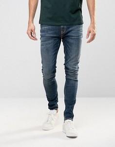 Супероблегающие джинсы серовато-синего цвета Nudie Pipe Led - Синий
