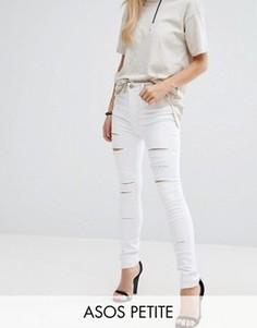 Белые джинсы скинни с завышенной талией и рваной отделкой ASOS PETITE Ridley - Белый