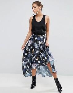 Атласная юбка миди с принтом ASOS - Мульти