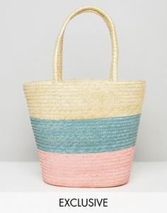 Соломенная сумка в полоску Reclaimed Vintage - Бежевый