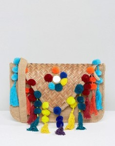 Сумка-конверт через плечо с помпонами и кисточками Glamorous - Мульти