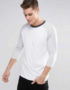 Серая футболка с рукавами реглан 3/4 New Look - Серый