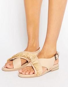 Кожаные сандалии с ремешками накрест Sol Sana Marla - Бежевый
