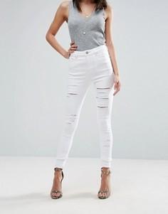 Белые рваные джинсы скинни ASOS RIDLEY - Белый