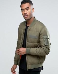 Стеганая куртка-бомбер цвета хаки с карманом на рукаве ASOS - Зеленый