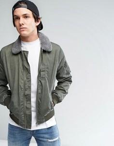 Куртка-бомбер с меховым воротником цвета хаки ASOS - Зеленый