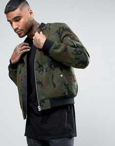 Камуфляжная куртка‑пилот с добавлением шерсти ASOS - Мульти