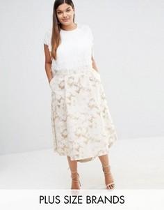 Жаккардовая юбка Elvi Plus - Золотой