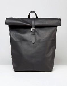 Черный кожаный рюкзак с отворотом Sandqvist - Черный