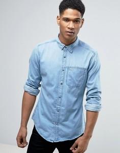 Узкая джинсовая рубашка с нагрудным карманом Esprit - Синий