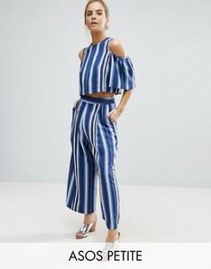 Комбинируемая юбка-брюки в полоску ASOS PETITE - Синий