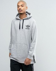 Серое удлиненное худи adidas Originals BK5882 - Серый