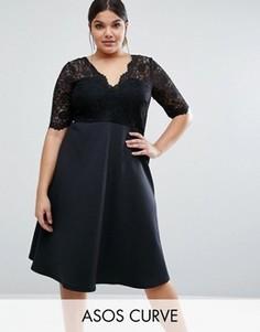 Приталенное платье миди с кружевным топом ASOS CURVE - Черный