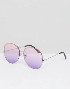 Круглые oversize-очки без оправы с цветными стеклами и отделкой стразами ASOS - Серебряный