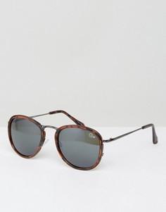 Черепаховые круглые солнцезащитные очки Quay Australia Odyssey - Коричневый