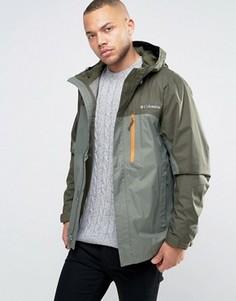 2-цветная зеленая непромокаемая куртка с капюшоном Columbia Pouring Adventure - Зеленый