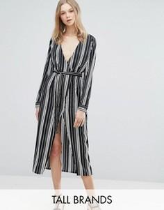 Платье миди в полоску Influence Tall - Черный
