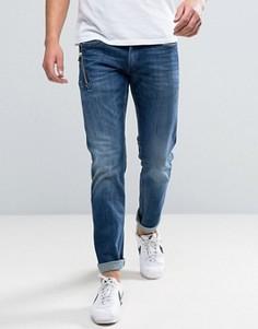 Темные эластичные джинсы слим с карманом на молнии Replay Anbass - Темно-синий