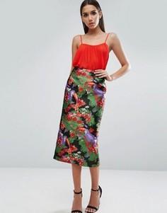 Жаккардовая юбка-карандаш с пеликанами ASOS - Мульти