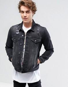 Черная выбеленная джинсовая куртка с рваной отделкой ASOS - Черный